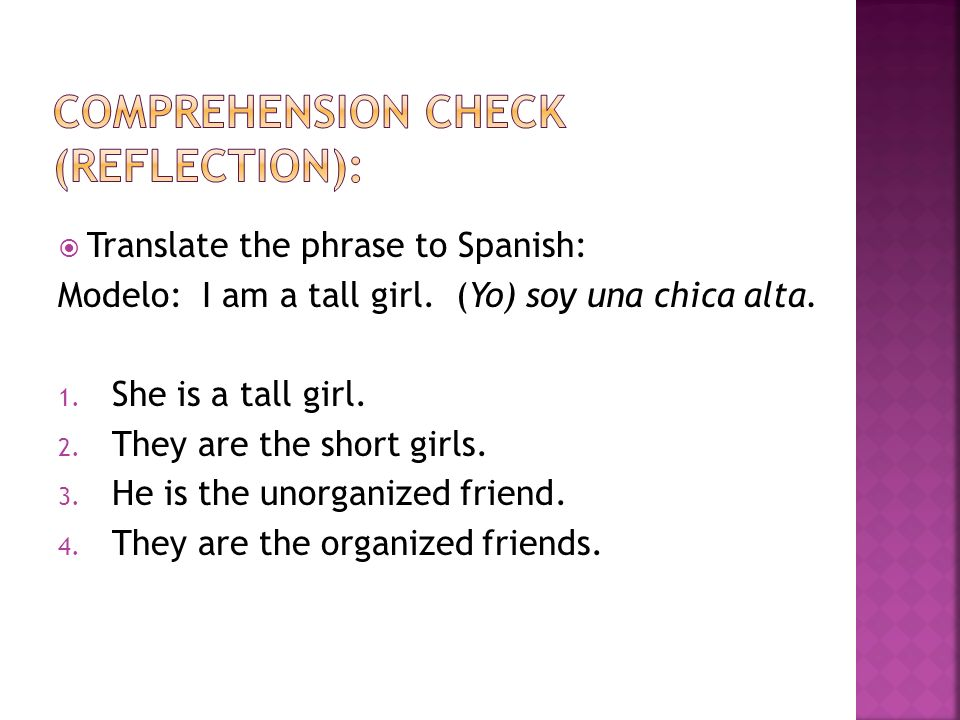 Comprehension check (Reflection):