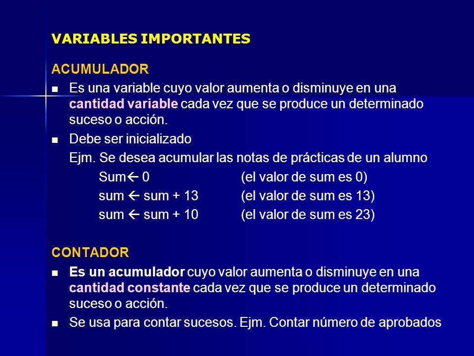 VARIABLES IMPORTANTES