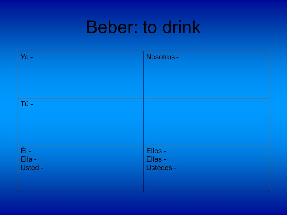 Beber: to drink