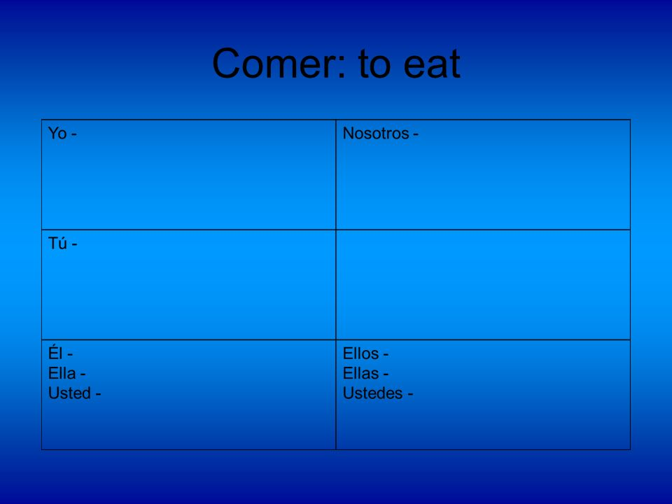 Comer: to eat