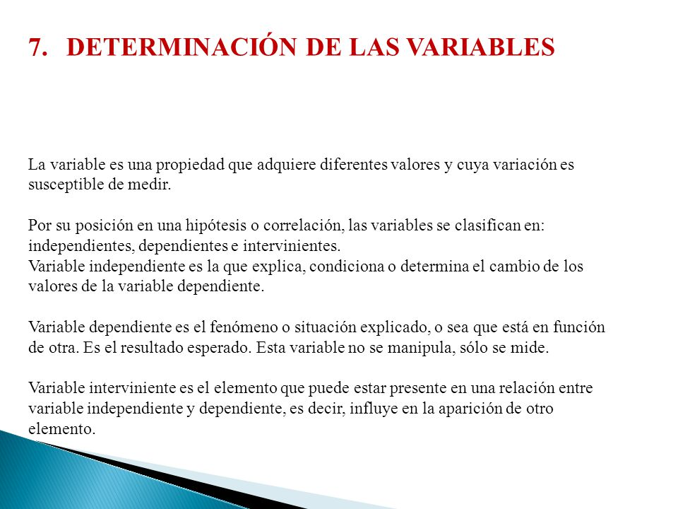 DETERMINACIÓN DE LAS VARIABLES