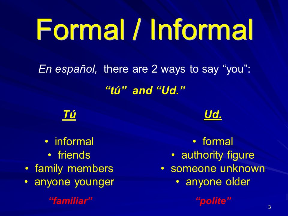 En español, there are 2 ways to say you :