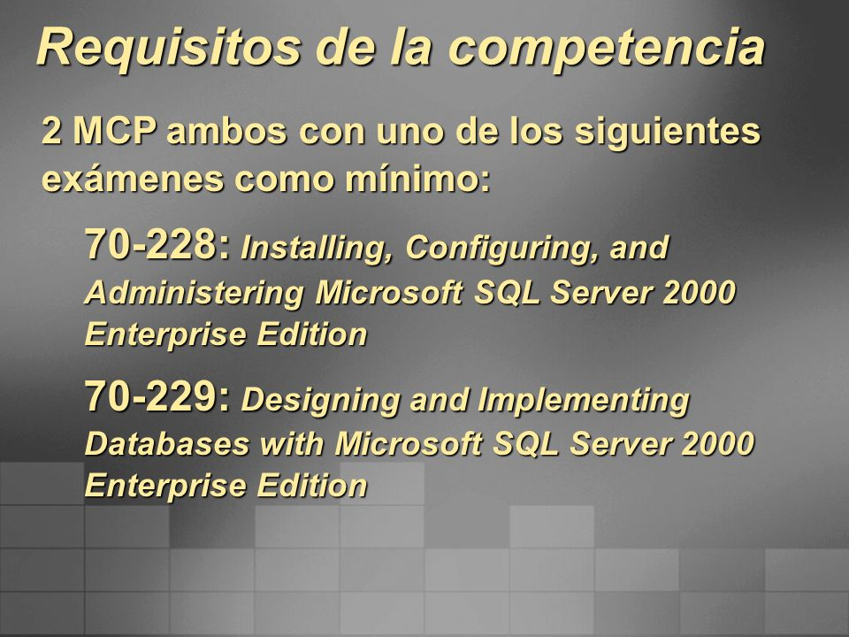 Requisitos de la competencia
