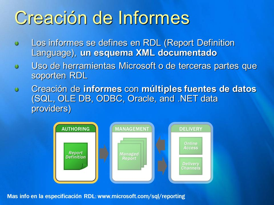 Creación de Informes Los informes se defines en RDL (Report Definition Language), un esquema XML documentado.