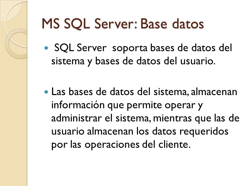MS SQL Server: Base datos