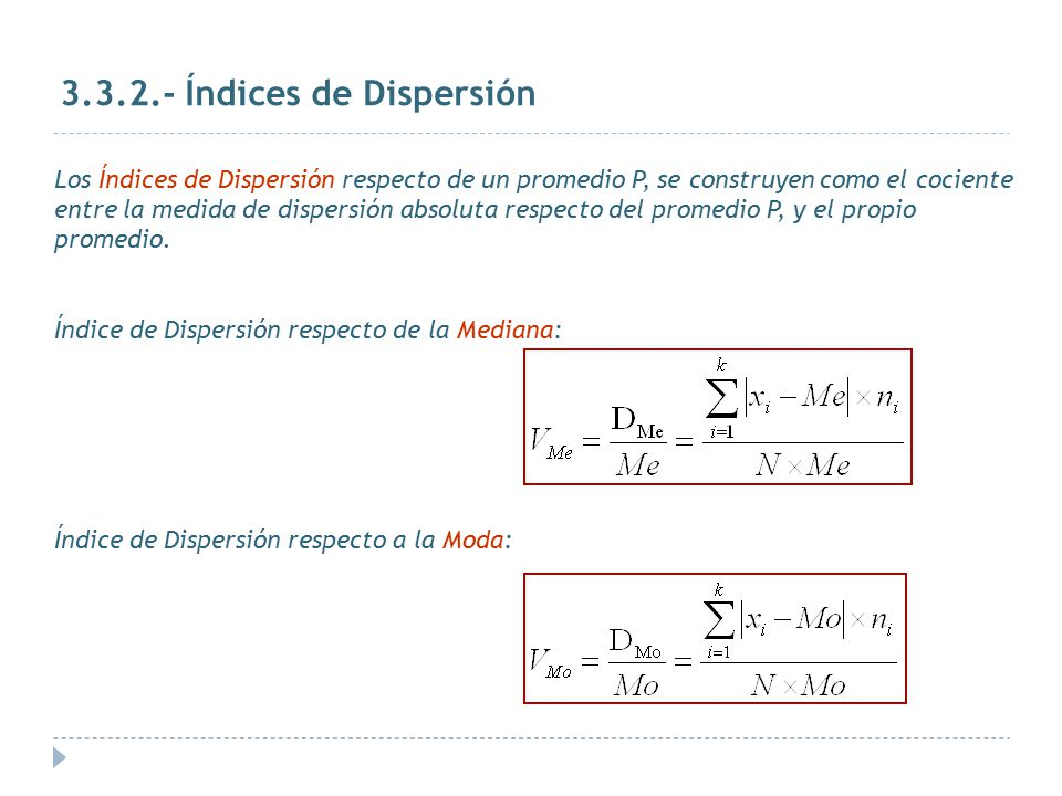 Índices de Dispersión
