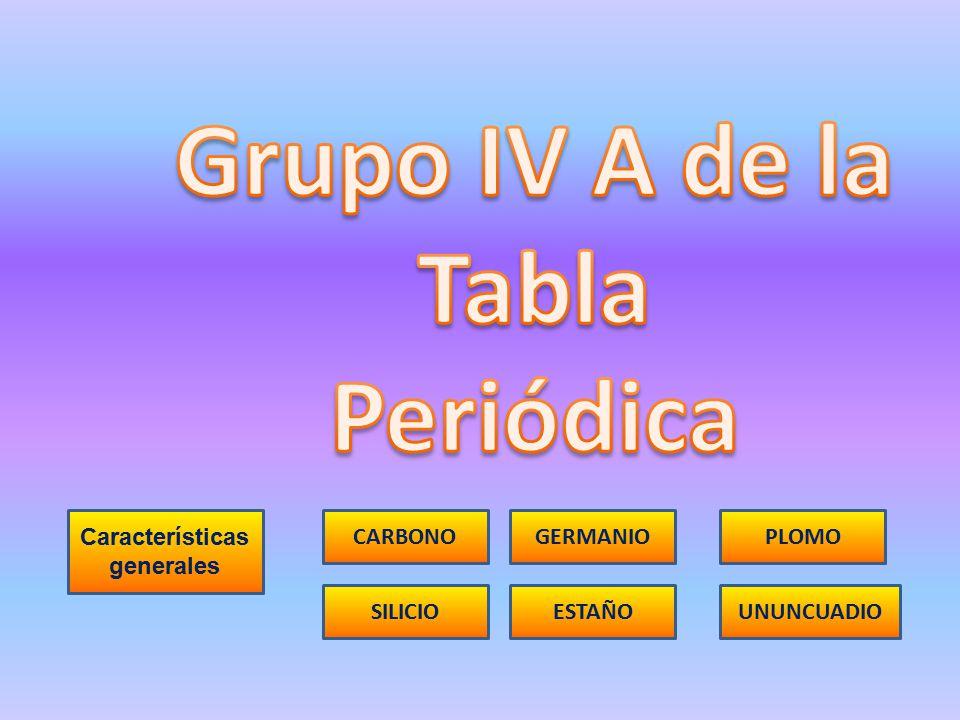 Caractersticas generales ppt descargar 1 caractersticas generales grupo iv a de la tabla peridica urtaz Choice Image