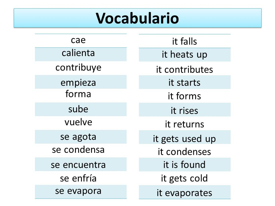 Vocabulario cae it falls calienta it heats up contribuye