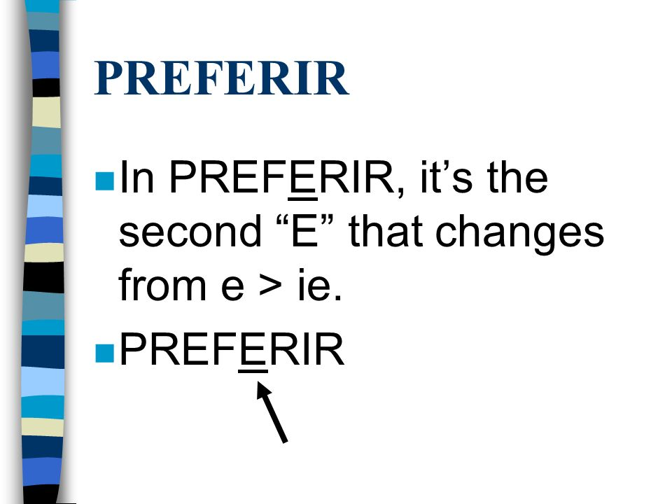 PREFERIR In PREFERIR, it's the second E that changes from e > ie.