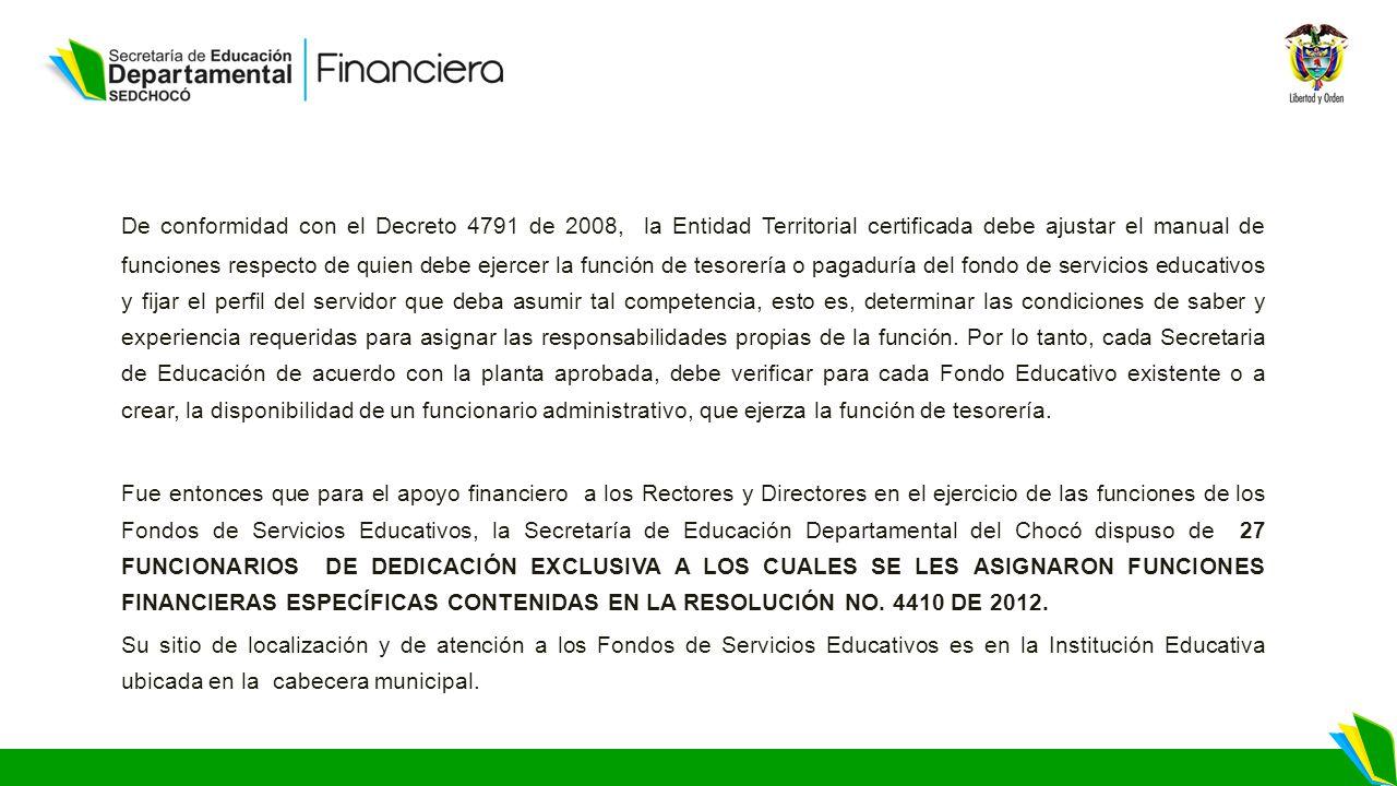 GESTION DE LA SEDCHOCO FRENTE A LOS FONDOS DE SERVICIOS EDUCATIVOS ...