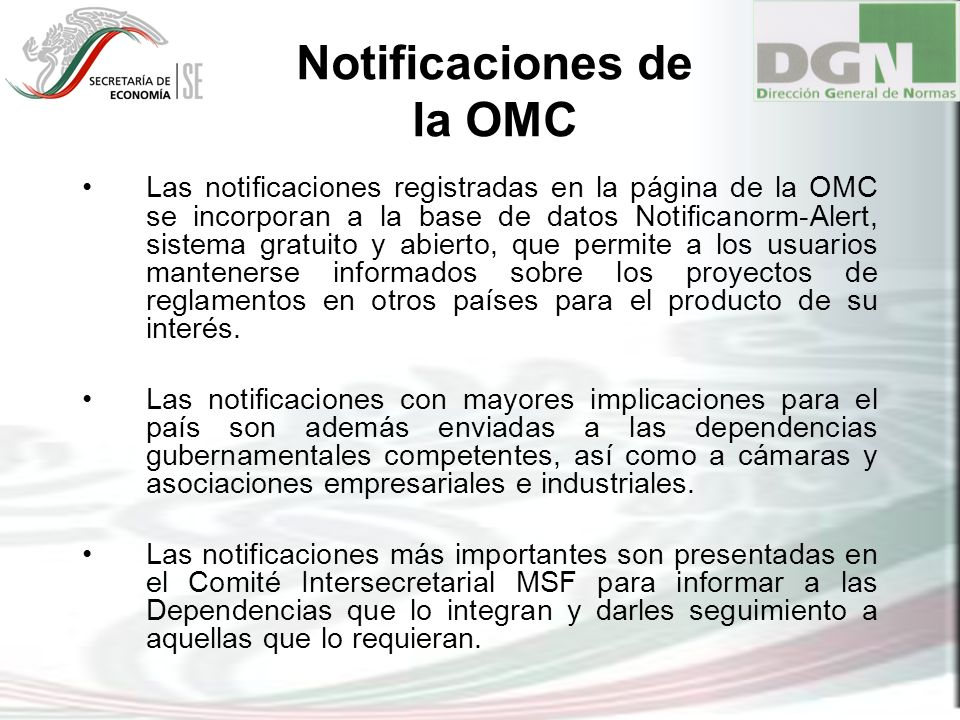Notificaciones de la OMC