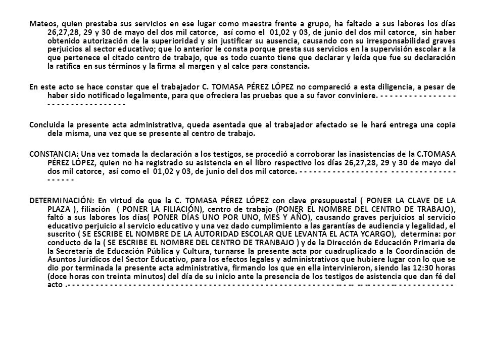 Acta De Abandono De Empleo Artículo 123 De La Constitución