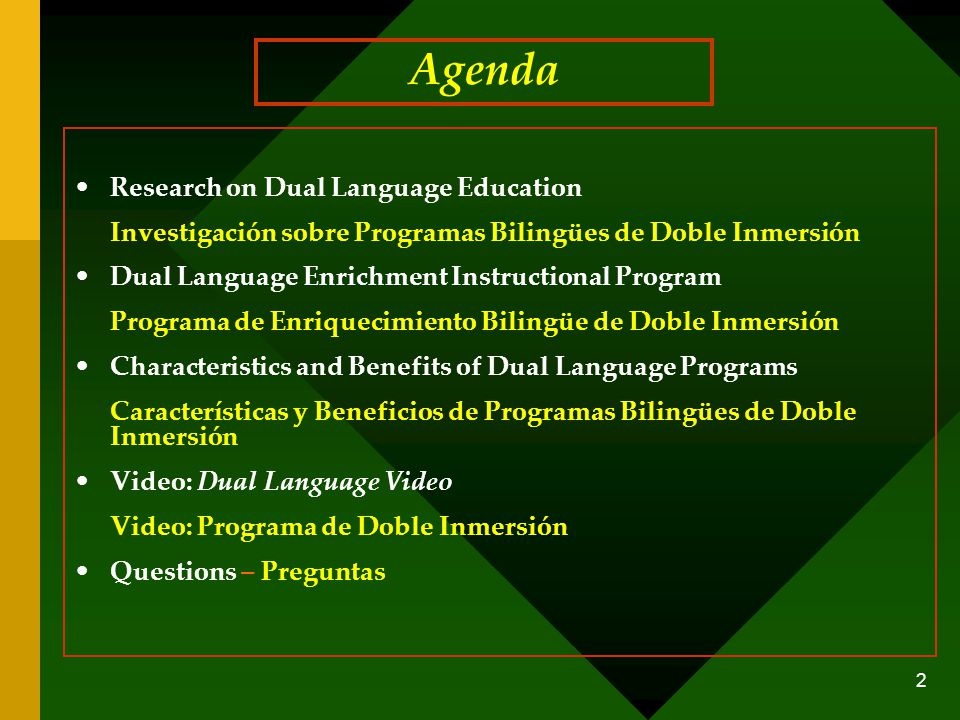 Agenda Research on Dual Language Education