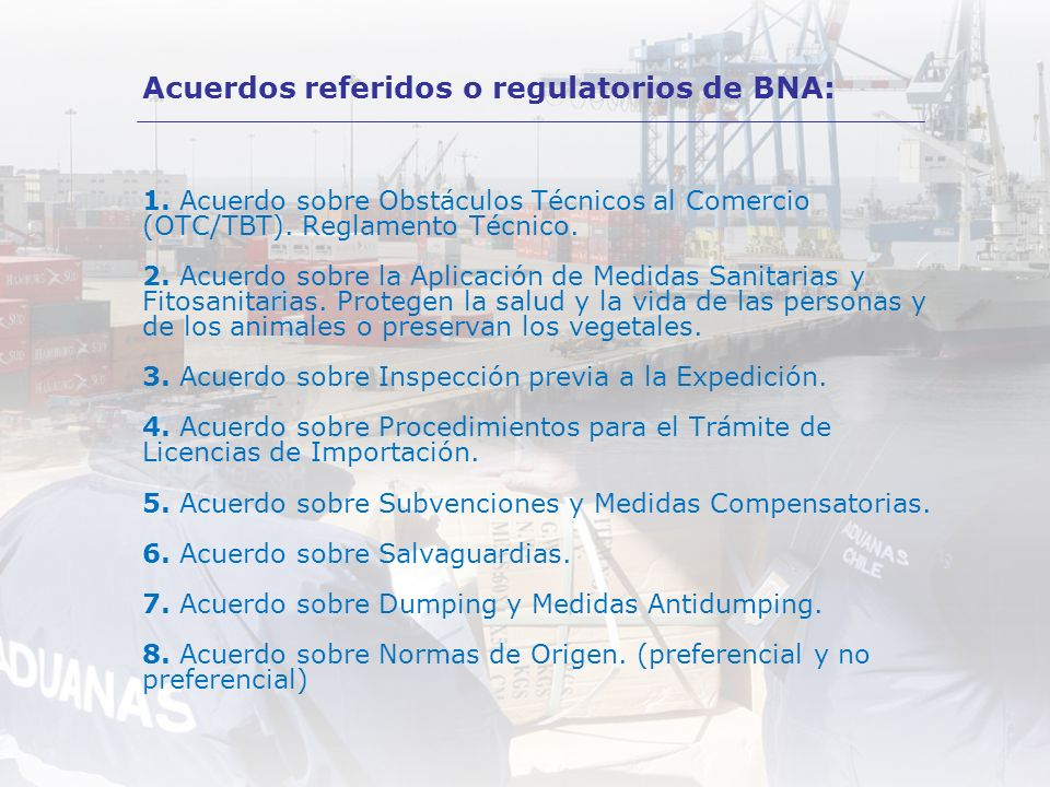 Acuerdos referidos o regulatorios de BNA: