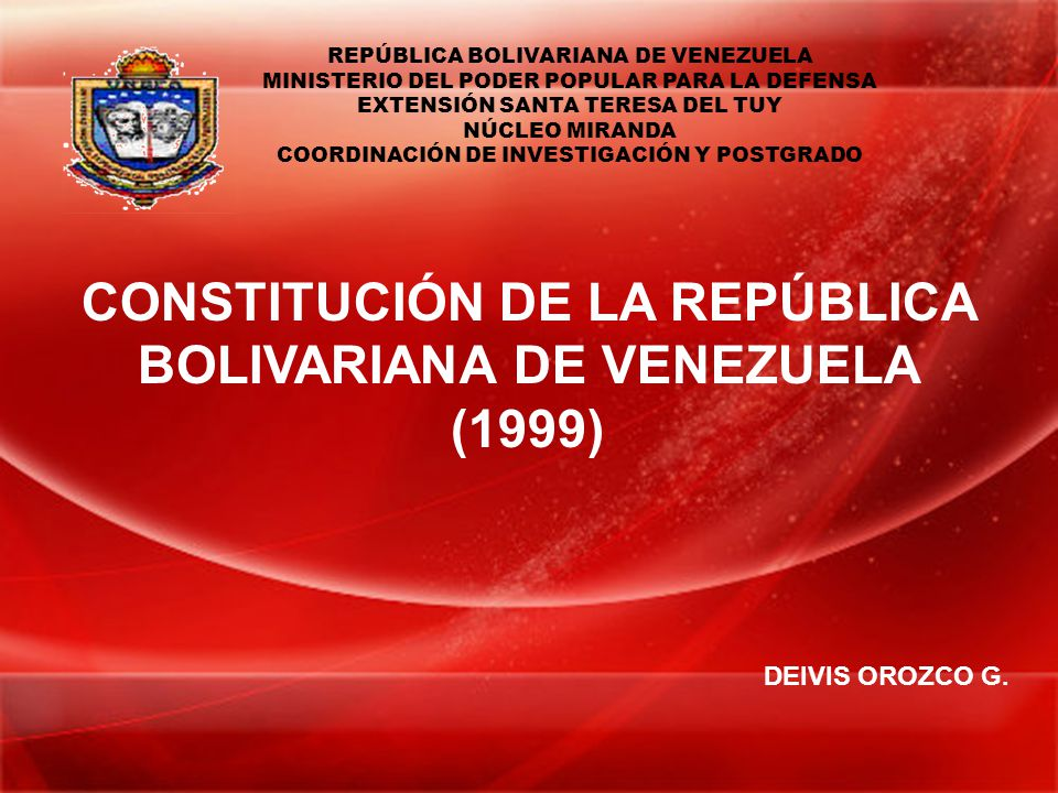 Constitución De La República Bolivariana De Venezuela 1999