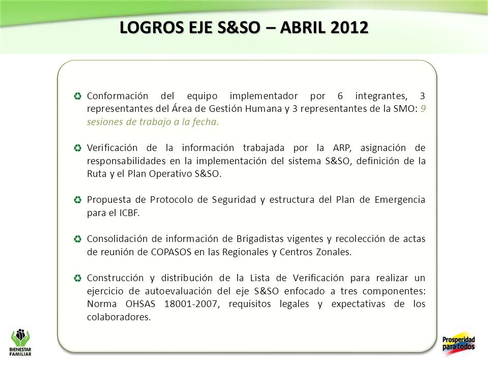 LOGROS EJE S&SO – ABRIL 2012