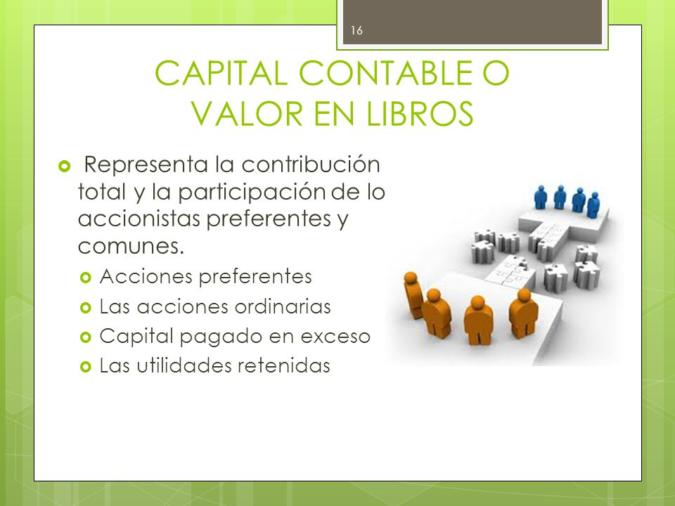 CAPITAL CONTABLE O VALOR EN LIBROS