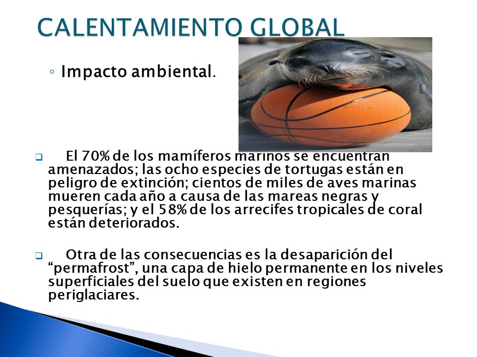 CALENTAMIENTO GLOBAL Impacto ambiental.