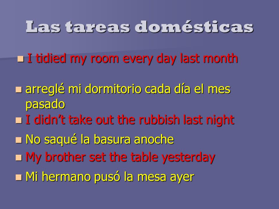 Las tareas domésticas I tidied my room every day last month