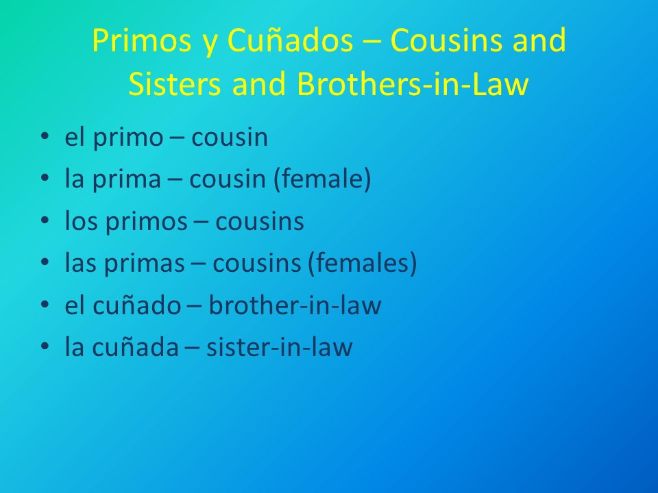 Primos y Cuñados – Cousins and Sisters and Brothers-in-Law