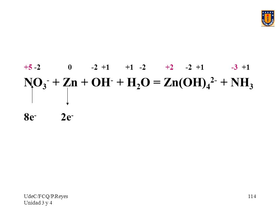 NO3- + Zn + OH- + H2O = Zn(OH)42- + NH3