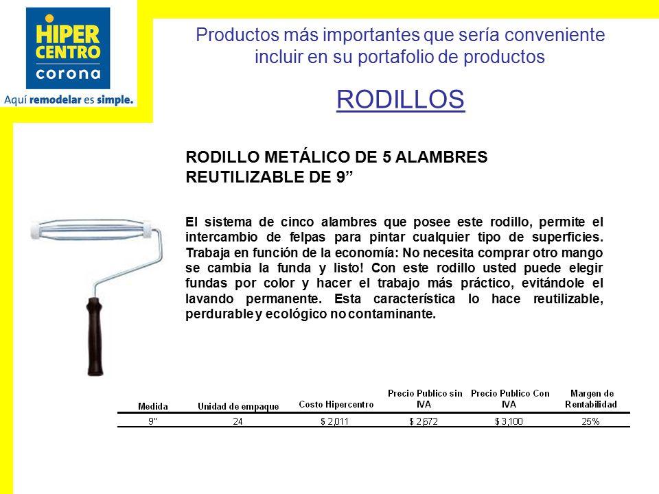 RODILLOS RODILLO METÁLICO DE 5 ALAMBRES REUTILIZABLE DE 9
