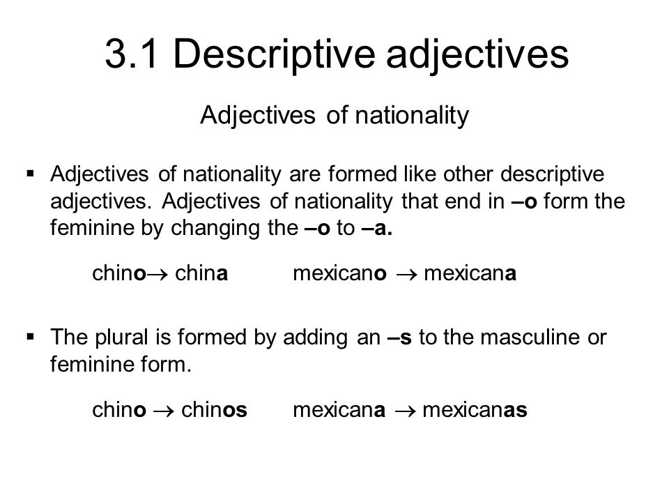 Adjectives of nationality