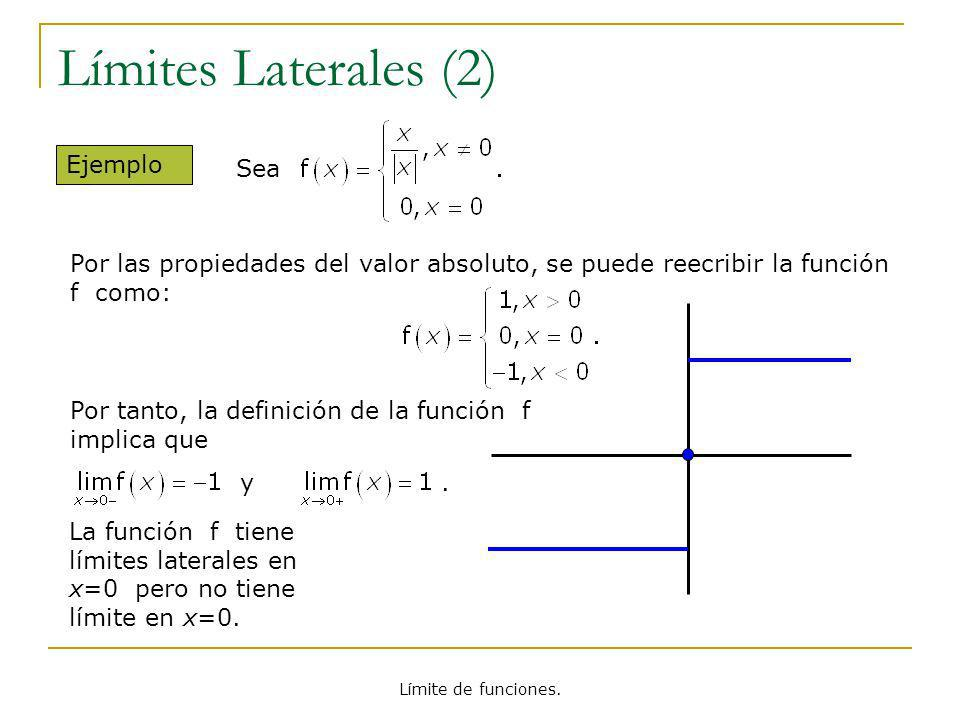 Límites Laterales (2) Ejemplo Sea
