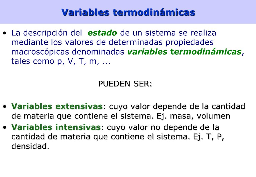 Variables termodinámicas