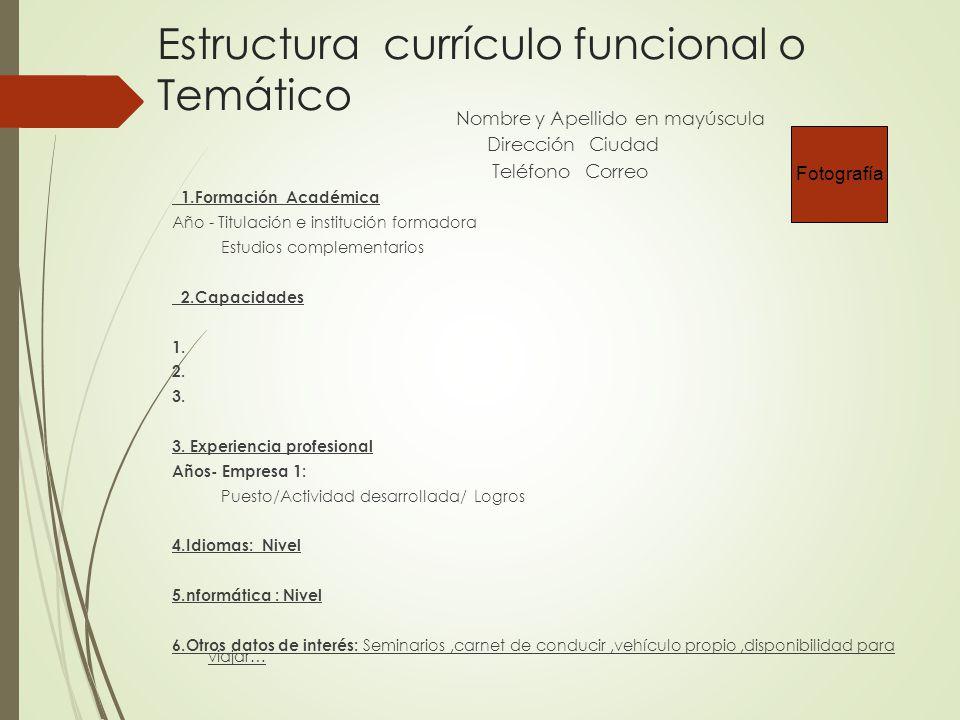 estructura currculo funcional o temtico