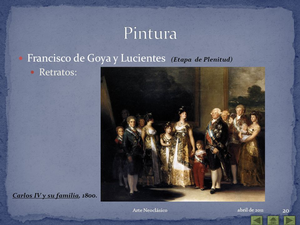 Pintura Francisco de Goya y Lucientes (Etapa de Plenitud) Retratos:
