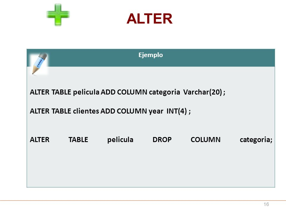 ALTER ALTER TABLE pelicula ADD COLUMN categoria Varchar(20) ;