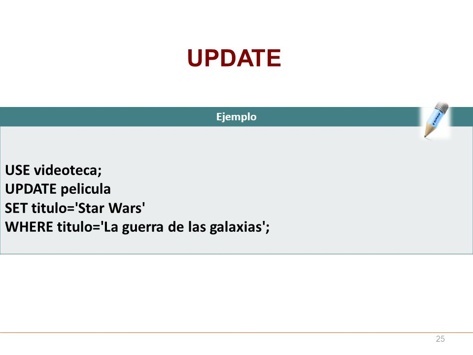 UPDATE USE videoteca; UPDATE pelicula SET titulo= Star Wars