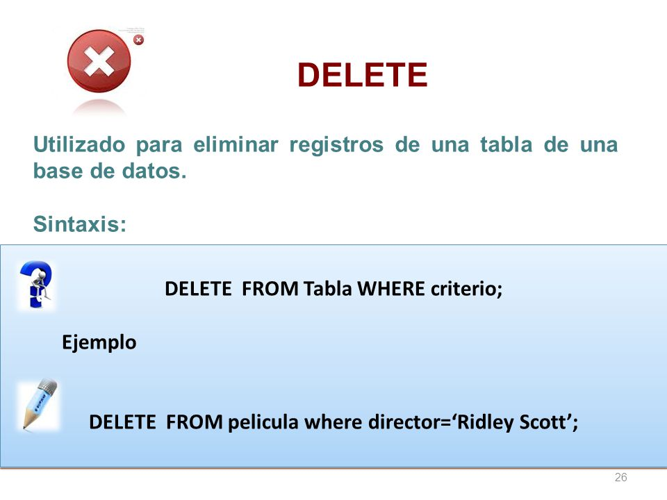 DELETE Utilizado para eliminar registros de una tabla de una base de datos. Sintaxis: DELETE FROM Tabla WHERE criterio;