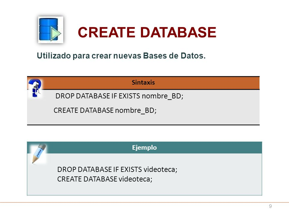 CREATE DATABASE DROP DATABASE IF EXISTS nombre_BD;