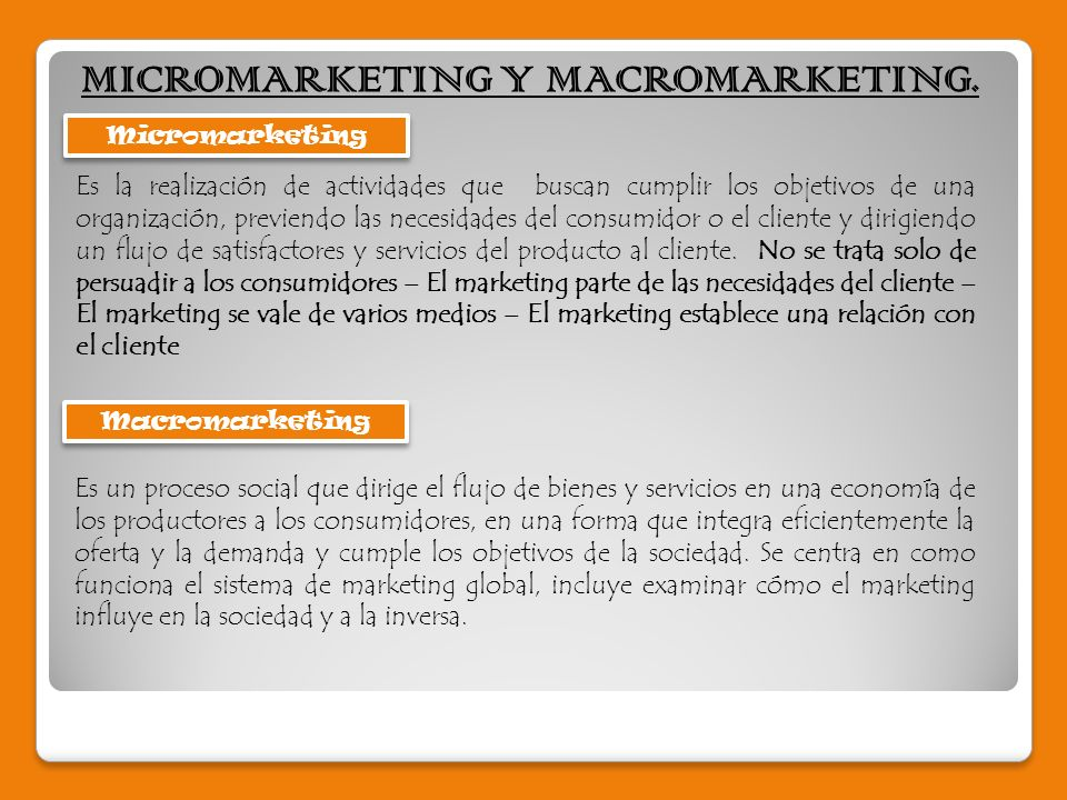 MICROMARKETING Y MACROMARKETING.