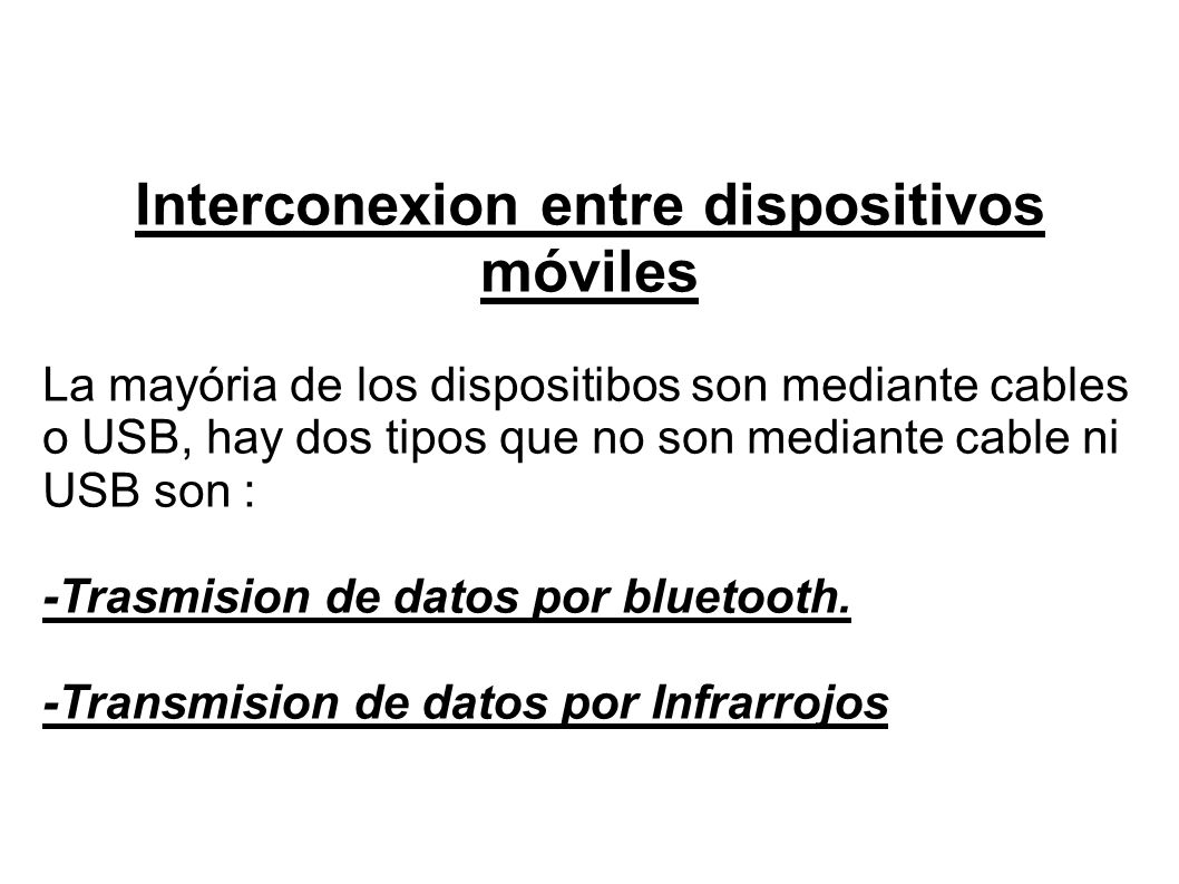 Interconexion entre dispositivos móviles