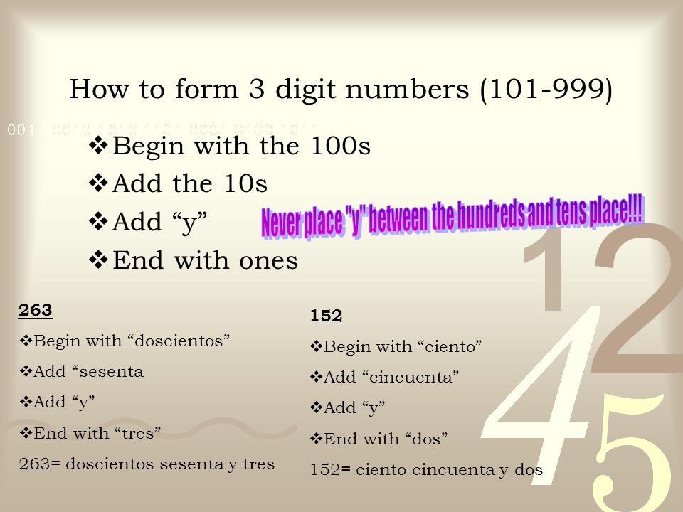 How to form 3 digit numbers ( )