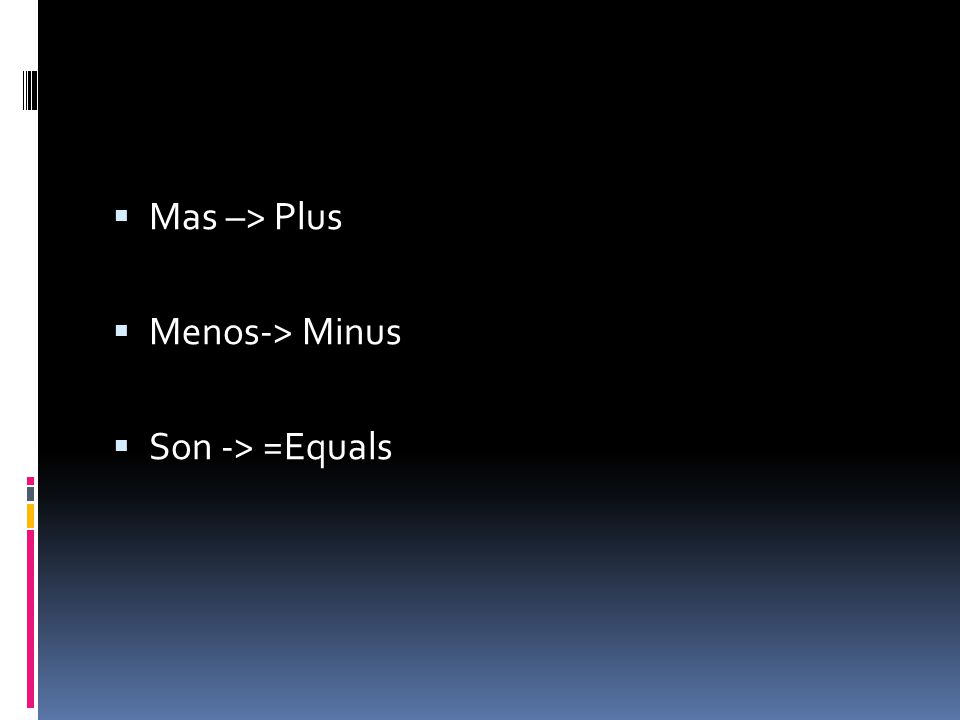 Mas –> Plus Menos-> Minus Son -> =Equals