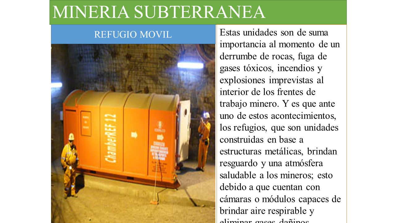 MINERIA SUBTERRANEA REFUGIO MOVIL.