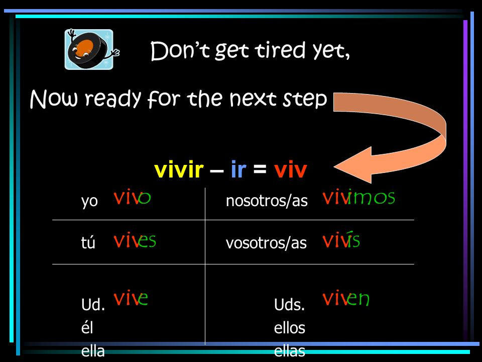 vivir – ir = viv viv o es e viv imos ís en Don't get tired yet,