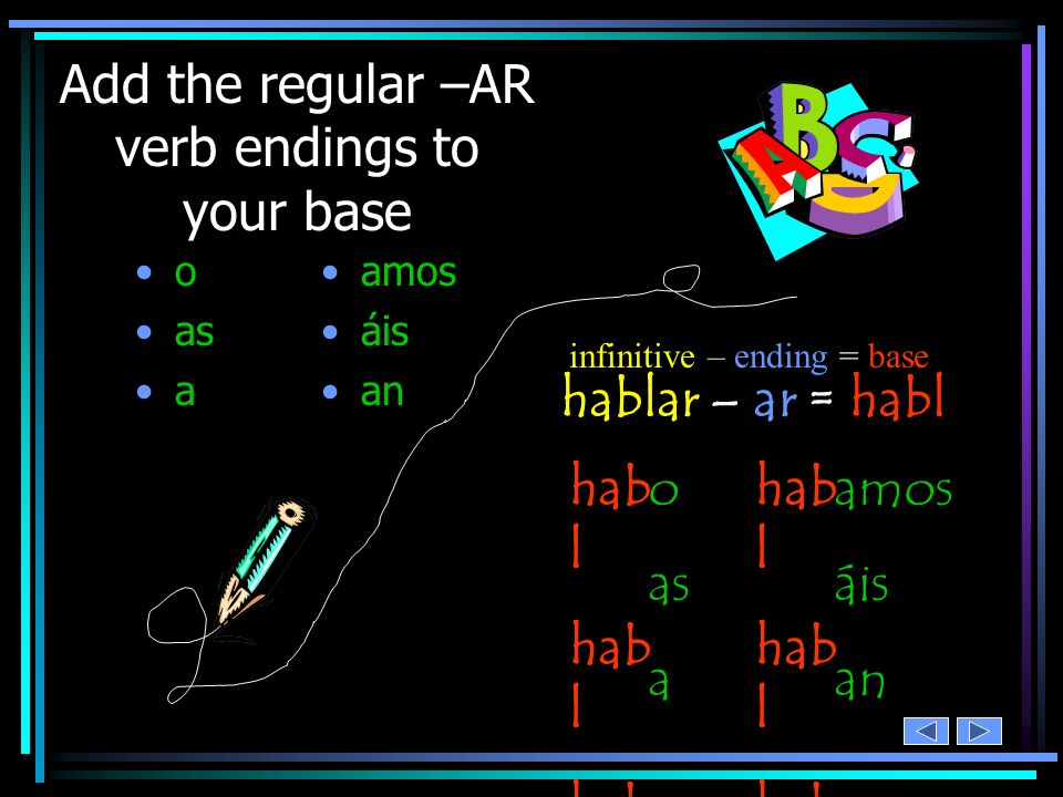 Add the regular –AR verb endings to your base