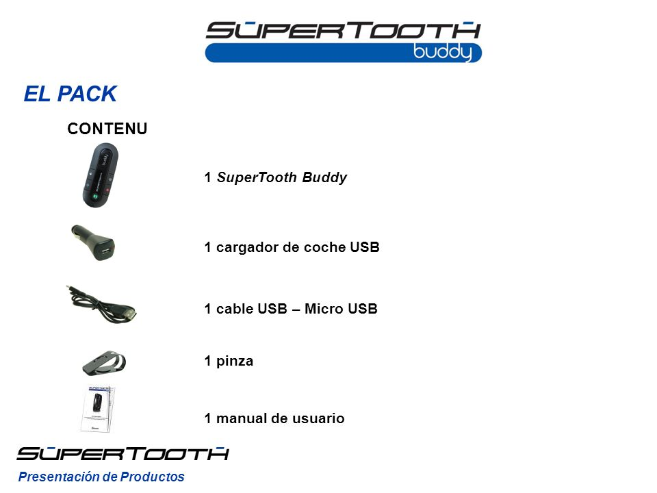 EL PACK CONTENU 1 SuperTooth Buddy 1 cargador de coche USB
