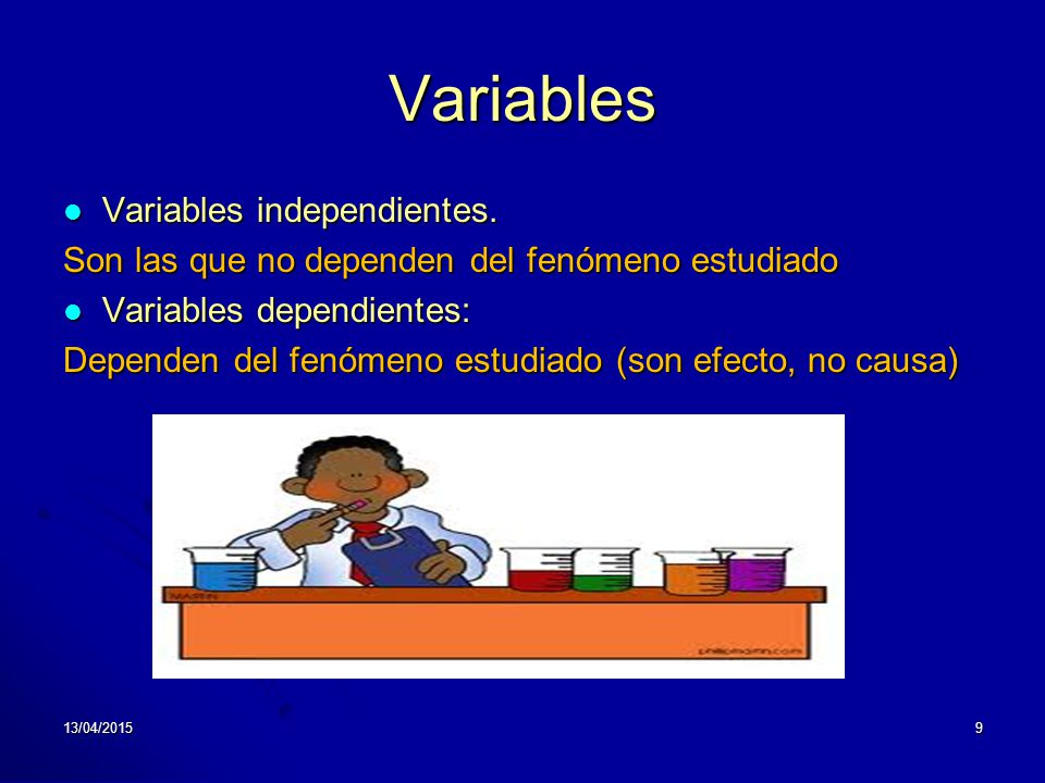 Variables Variables independientes.