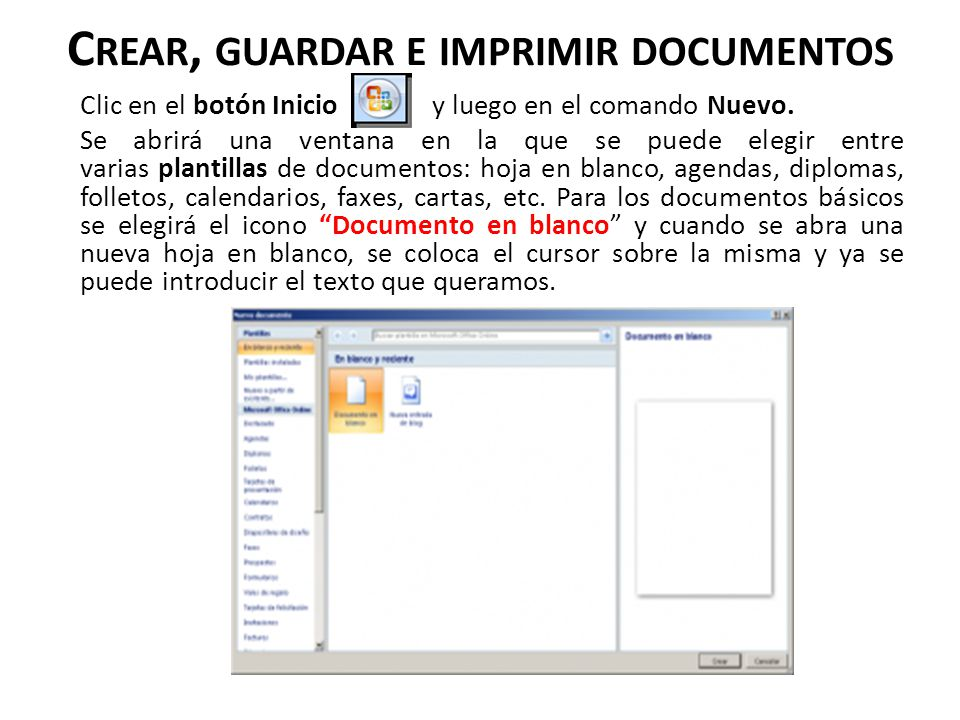 Crear, guardar e imprimir documentos