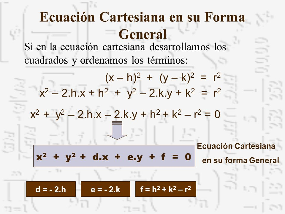 Ecuación Cartesiana en su Forma General