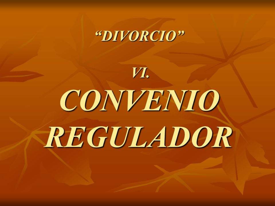 DIVORCIO VI. CONVENIO REGULADOR