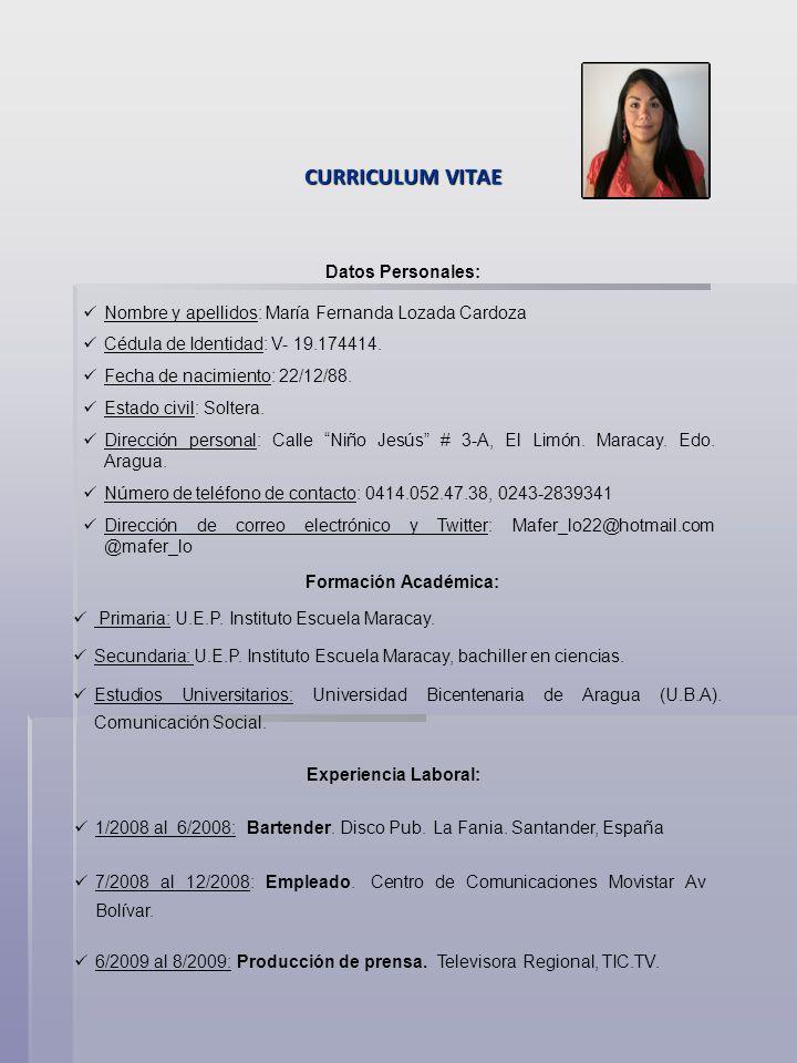 Curriculum Vitae Datos Personales Ppt Descargar