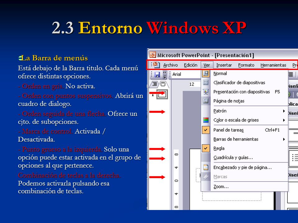 2.3 Entorno Windows XP La Barra de menús