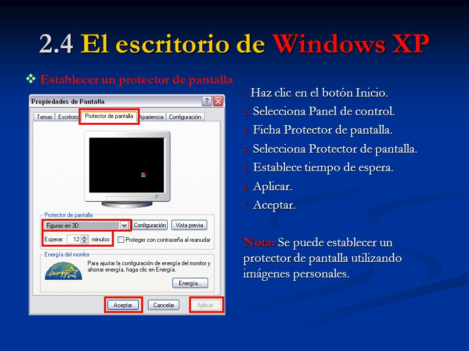 2.4 El escritorio de Windows XP